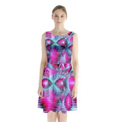 Ruby Red Crystal Palace, Abstract Jewels Sleeveless Chiffon Waist Tie Dress