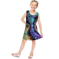 Satin Rainbow, Spiral Curves Through the Cosmos Kids  Tunic Dress