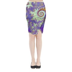 Sea Shell Spiral, Abstract Violet Cyan Stars Midi Wrap Pencil Skirt