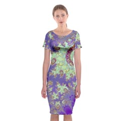 Sea Shell Spiral, Abstract Violet Cyan Stars Classic Short Sleeve Midi Dress