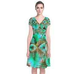 Spring Leaves, Abstract Crystal Flower Garden Short Sleeve Front Wrap Dress