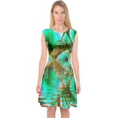 Spring Leaves, Abstract Crystal Flower Garden Capsleeve Midi Dress