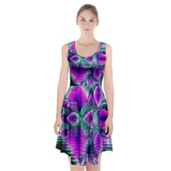 Teal Violet Crystal Palace, Abstract Cosmic Heart Racerback Midi Dress