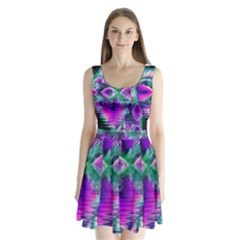 Teal Violet Crystal Palace, Abstract Cosmic Heart Split Back Mini Dress