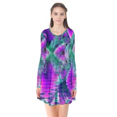 Teal Violet Crystal Palace, Abstract Cosmic Heart Flare Dress