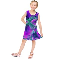Teal Violet Crystal Palace, Abstract Cosmic Heart Kids  Tunic Dress