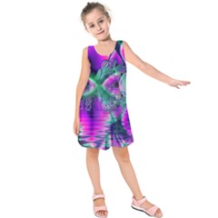 Teal Violet Crystal Palace, Abstract Cosmic Heart Kids  Sleeveless Dress