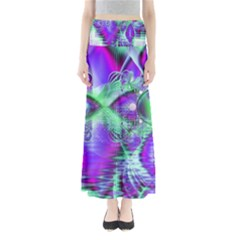 Violet Peacock Feathers, Abstract Crystal Mint Green Maxi Skirts