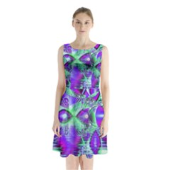 Violet Peacock Feathers, Abstract Crystal Mint Green Sleeveless Chiffon Waist Tie Dress
