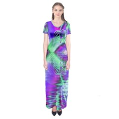 Violet Peacock Feathers, Abstract Crystal Mint Green Short Sleeve Maxi Dress