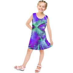 Violet Peacock Feathers, Abstract Crystal Mint Green Kids  Tunic Dress