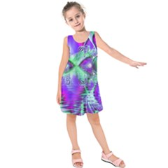 Violet Peacock Feathers, Abstract Crystal Mint Green Kids  Sleeveless Dress