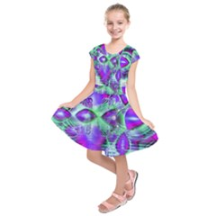 Violet Peacock Feathers, Abstract Crystal Mint Green Kids  Short Sleeve Dress