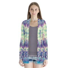 Violet Teal Sea Shells, Abstract Underwater Forest (purple Sea Horse, Abstract Ocean Waves  Cardigans