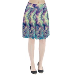 Violet Teal Sea Shells, Abstract Underwater Forest (purple Sea Horse, Abstract Ocean Waves  Pleated Skirt