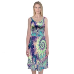 Violet Teal Sea Shells, Abstract Underwater Forest (purple Sea Horse, Abstract Ocean Waves  Midi Sleeveless Dress