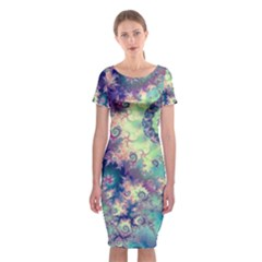 Violet Teal Sea Shells, Abstract Underwater Forest (purple Sea Horse, Abstract Ocean Waves  Classic Short Sleeve Midi Dress