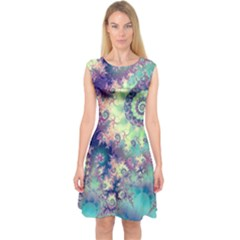 Violet Teal Sea Shells, Abstract Underwater Forest (purple Sea Horse, Abstract Ocean Waves  Capsleeve Midi Dress