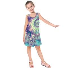 Violet Teal Sea Shells, Abstract Underwater Forest (purple Sea Horse, Abstract Ocean Waves  Kids  Sleeveless Dress