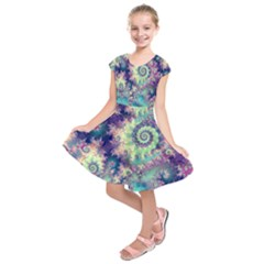 Violet Teal Sea Shells, Abstract Underwater Forest (purple Sea Horse, Abstract Ocean Waves  Kids  Short Sleeve Dress