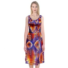 Winter Crystal Palace, Abstract Cosmic Dream (lake 12 15 13) 9900x7400 Smaller Midi Sleeveless Dress