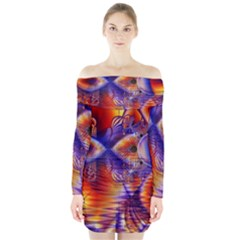 Winter Crystal Palace, Abstract Cosmic Dream (lake 12 15 13) 9900x7400 Smaller Long Sleeve Off Shoulder Dress