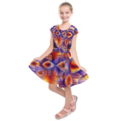 Winter Crystal Palace, Abstract Cosmic Dream (lake 12 15 13) 9900x7400 Smaller Kids  Short Sleeve Dress