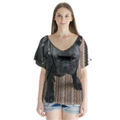 Brindle French Bulldog Sitting Flutter Sleeve Top