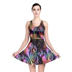 Fractal Colorful Background Reversible Skater Dress