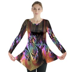 Fractal Colorful Background Long Sleeve Tunic