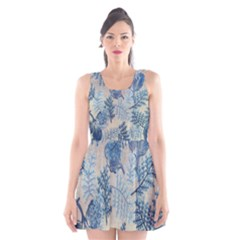 Flowers Blue Patterns Fabric Scoop Neck Skater Dress