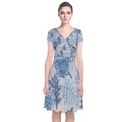 Flowers Blue Patterns Fabric Short Sleeve Front Wrap Dress
