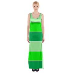 Green Shades Geometric Quad Maxi Thigh Split Dress