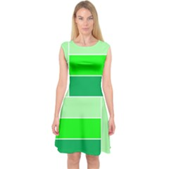 Green Shades Geometric Quad Capsleeve Midi Dress