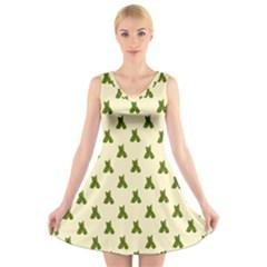 Leaf Pattern Green Wallpaper Tea V-Neck Sleeveless Skater Dress