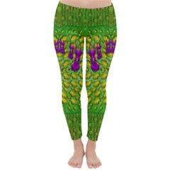 Flowers And Yoga In The Wind Classic Winter Leggings
