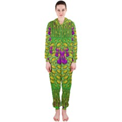 Flowers And Yoga In The Wind Hooded Jumpsuit (ladies)