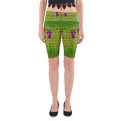 Flowers And Yoga In The Wind Yoga Cropped Leggings