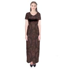 Leaf Pattern Green Wallpaper Tea Leather Short Sleeve Maxi Dress