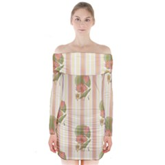 Lotus Flower Waterlily Wallpaper Long Sleeve Off Shoulder Dress