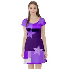 Purple Stars Pattern Shape Short Sleeve Skater Dress