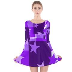 Purple Stars Pattern Shape Long Sleeve Velvet Skater Dress