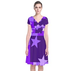 Purple Stars Pattern Shape Short Sleeve Front Wrap Dress