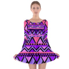Seamless Purple Pink Pattern Long Sleeve Skater Dress