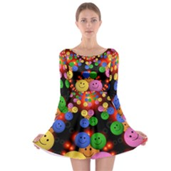 Smiley Laugh Funny Cheerful Long Sleeve Skater Dress