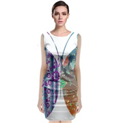 Vintage Style Floral Butterfly Classic Sleeveless Midi Dress