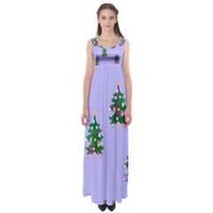Watercolour Paint Dripping Ink  Empire Waist Maxi Dress