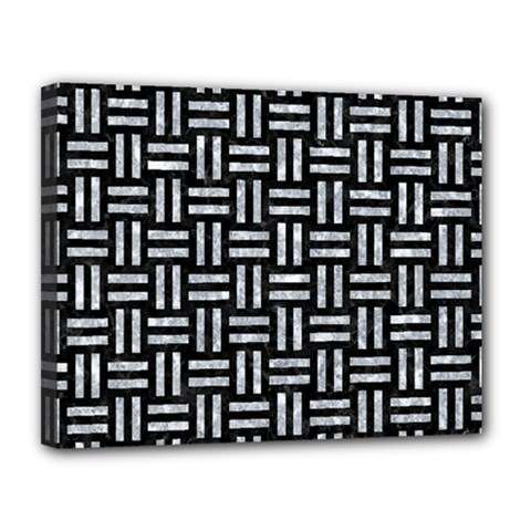 Woven1 Black Marble & Gray Marble Canvas 14  X 11  (stretched)