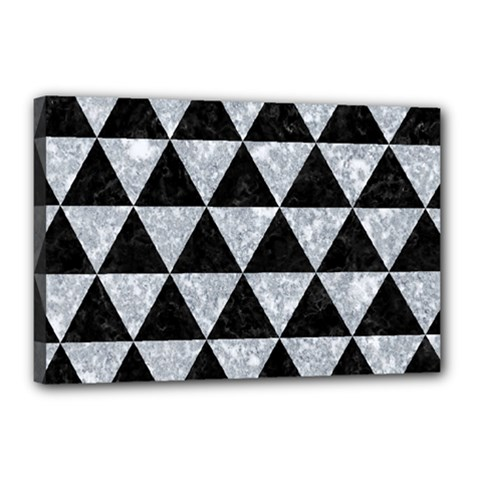 Triangle3 Black Marble & Gray Marble Canvas 18  X 12  (stretched)