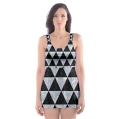 Triangle3 Black Marble & Gray Marble Skater Dress Swimsuit